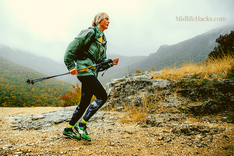 older women running in the mountains