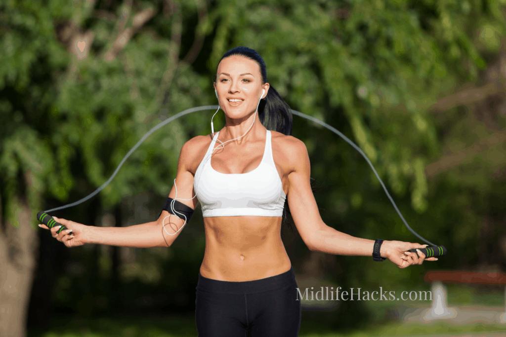 girl in sports bra skipping