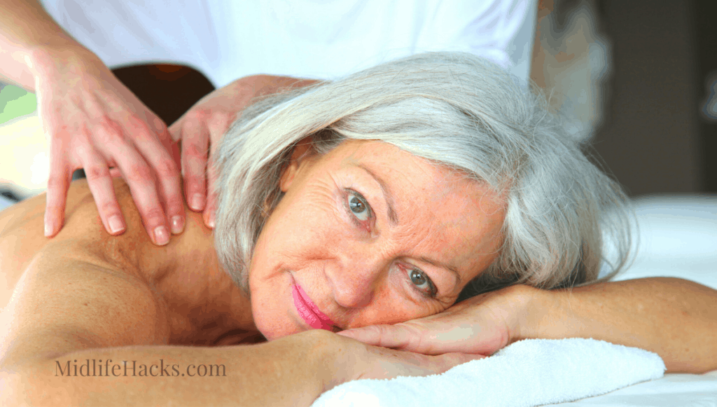 midlife woman getting the best deep tissue massager