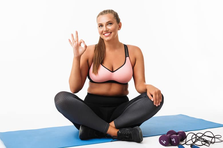 happy girl wearing most comfortable sports bra