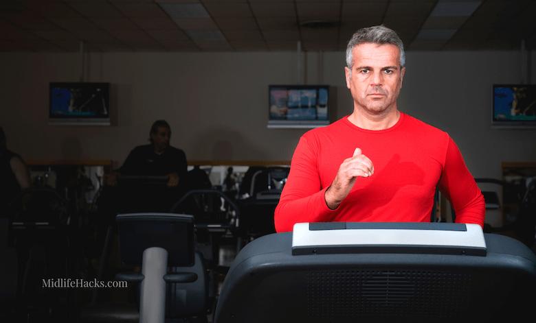 mature man treadmill running