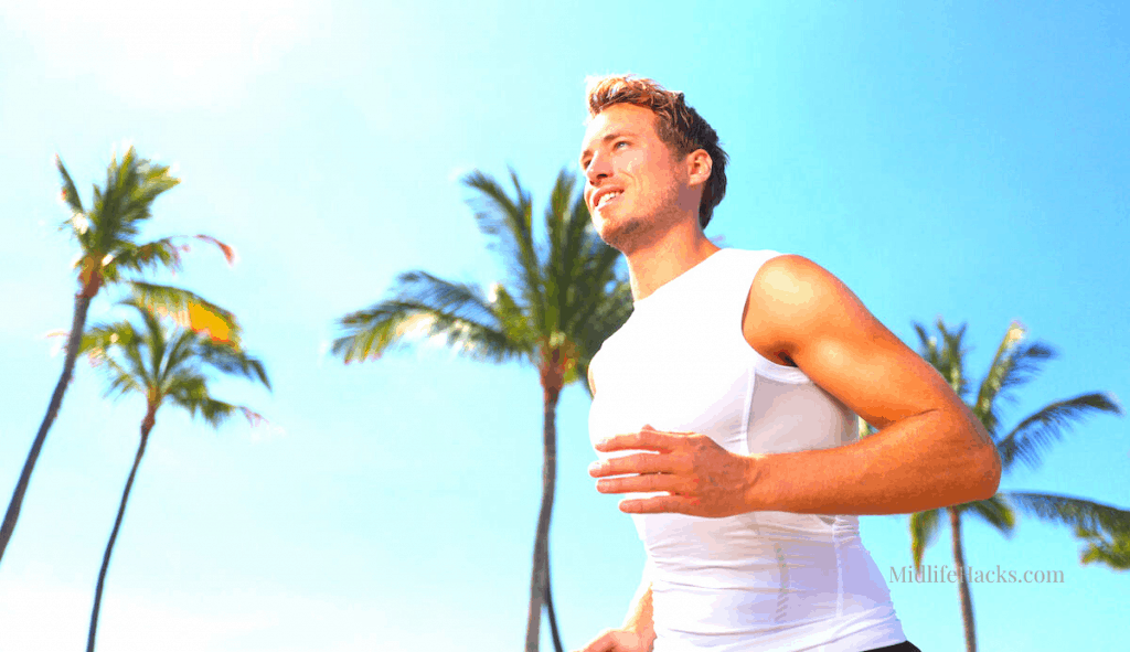 Runner with compression shirt for slimming