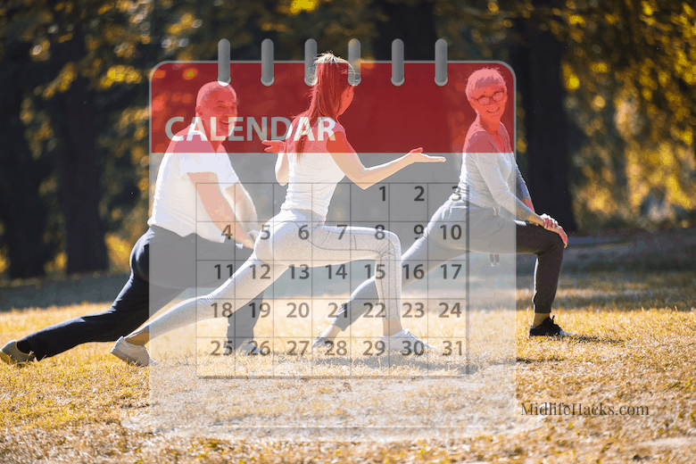 Personal trainer with mature couple outside with a calendar overlaid