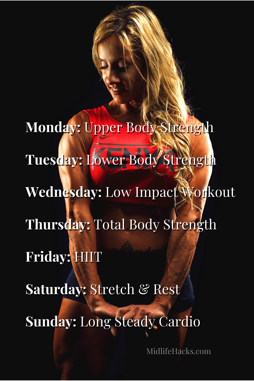 A simple weekly fitness plan overlaid on a woman with very toned arm muscles