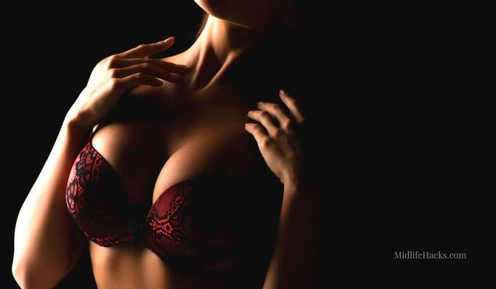 Bra and bust of a woman - dark background