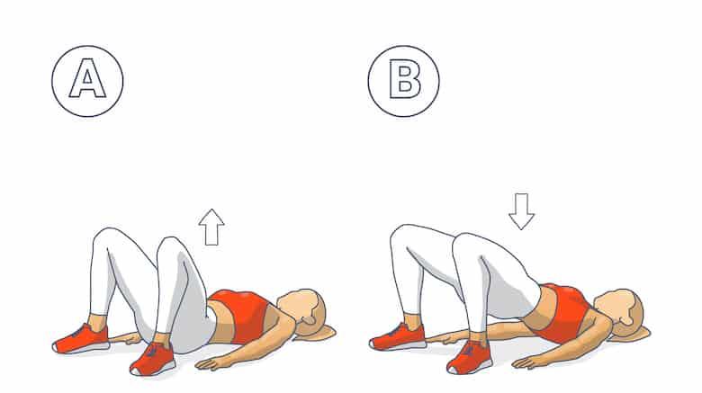 Sumo Glute Bridge Female Exercise Guide Illustration.