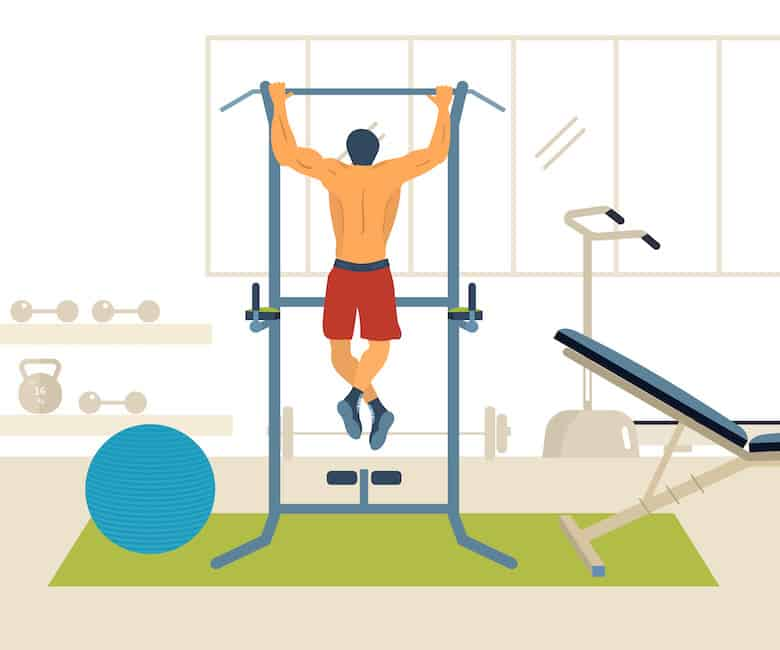 Illustration of man in gym on a pull-up machine another one of our examples of bodyweight back exercises.