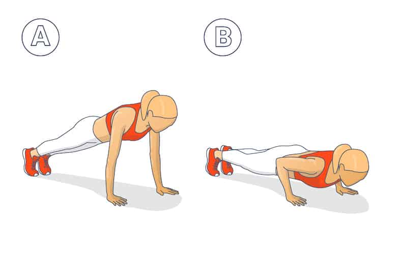 Diagram of a woman in the 2 positions of a press-up, one of many bodyweight back exercises.