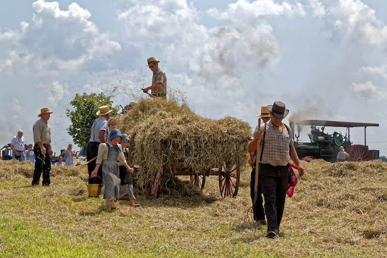 Two young Mennonite girls with a water pail carry water for the hay crew at Big Spring Farm Days. Gaining the benefits of walking and doing more steps means they are more likely to end their long lives healthy.