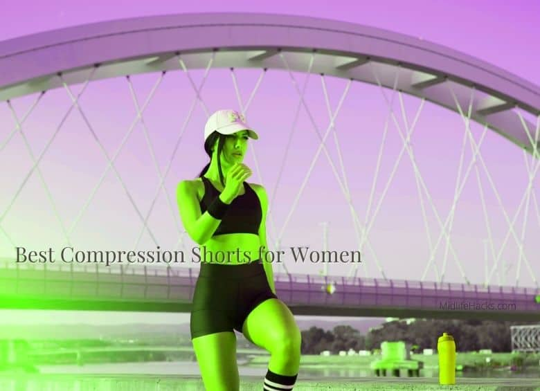 women running under bridge with the text best compression shorts for women