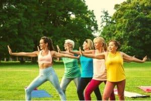 5 over 50s women exercising outside